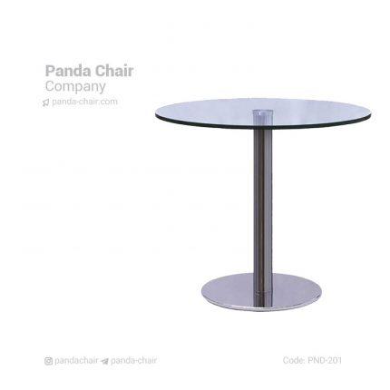 میز فست فود و کافی شاپ - میز دایره صفحه شیشه ای - میز گرد پایه بشقابی - میز کافه و رستوران